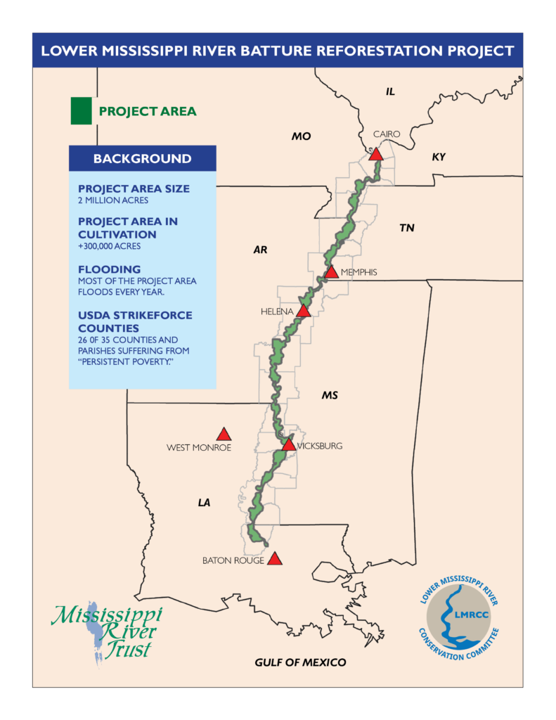 Map of the Lower Mississippi River Batture Reforestation Project