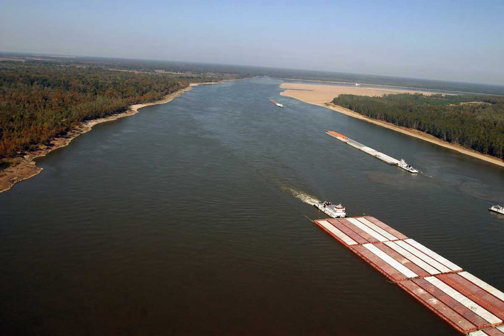 Barges on the Mississippi River