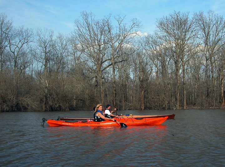 Two kayakers on the water